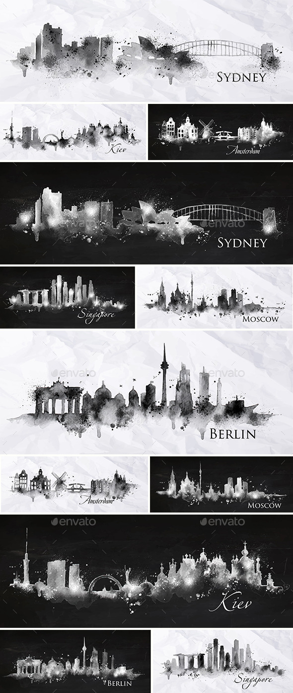 GraphicRiver Cities Silhouettes Black and White 11214951