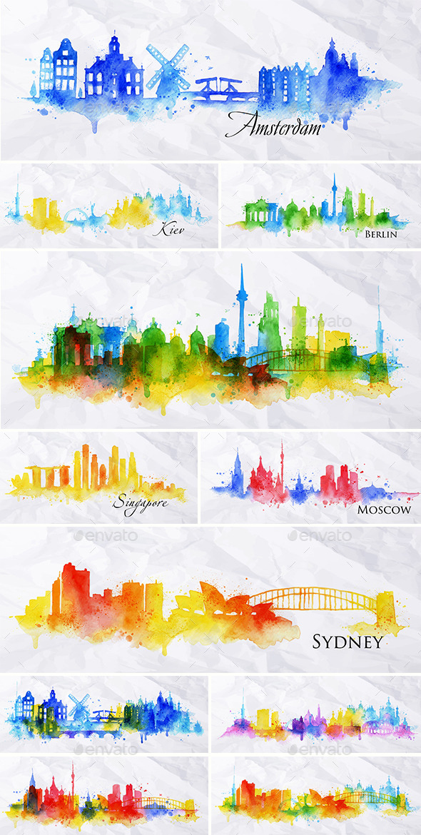 GraphicRiver Cities Silhouette Overlay and Watercolor 11214985