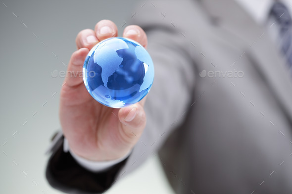 Businessman with the world in his hands