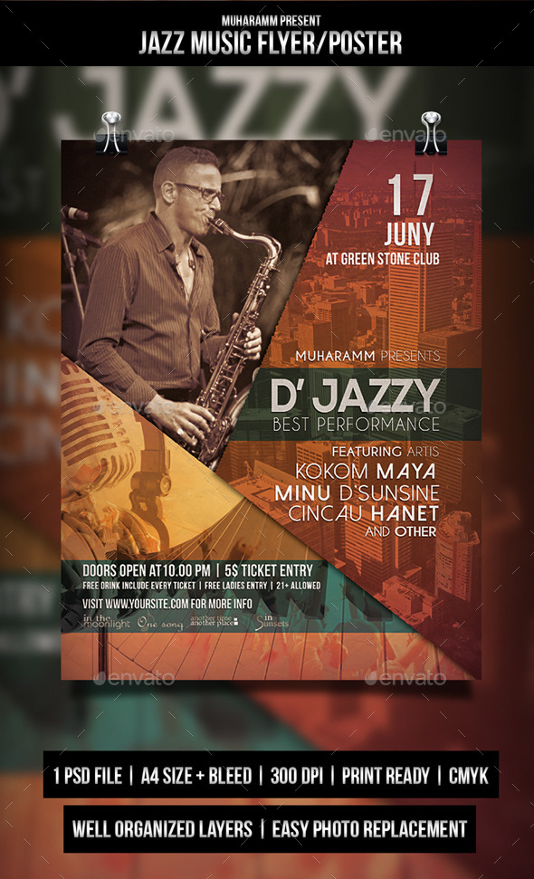 GraphicRiver Jazz Music Flyer Poster 11215265