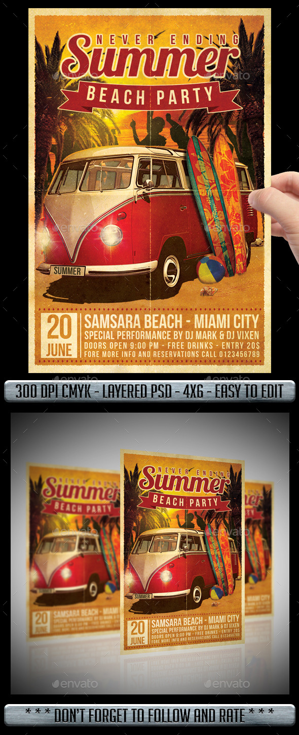 GraphicRiver Summer Beach Party Flyer 11215777