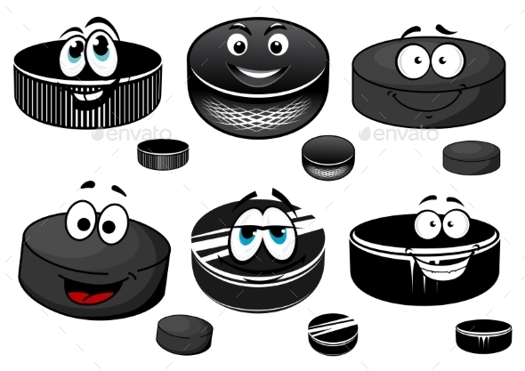 GraphicRiver Cartoon Black Ice Hockey Pucks Characters 11215980