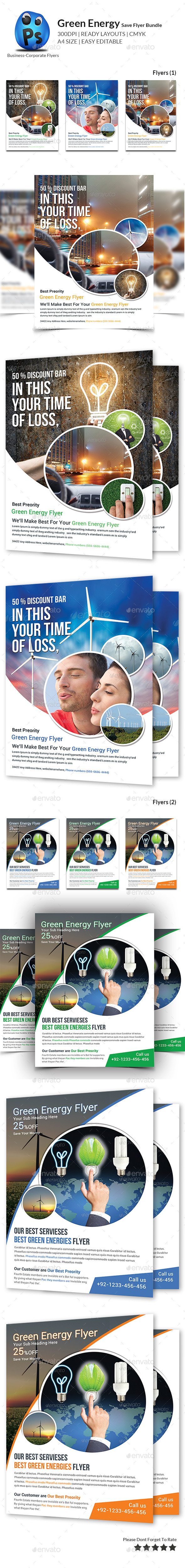 GraphicRiver Green Energy Business Flyers Bundle 11216607
