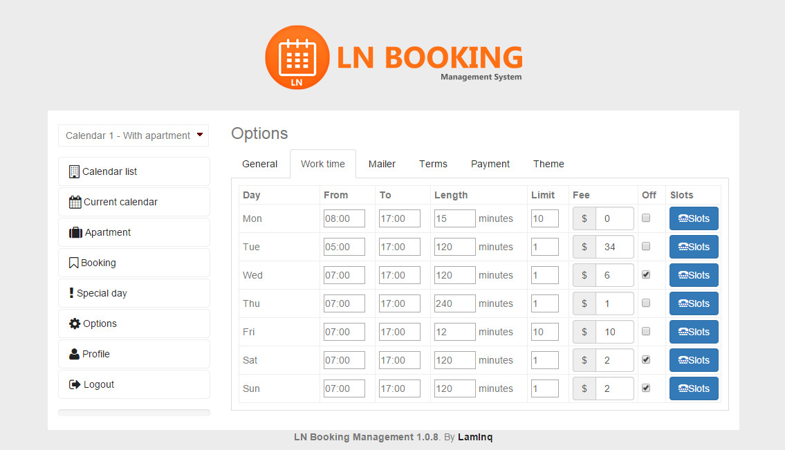 time slot booking joomla