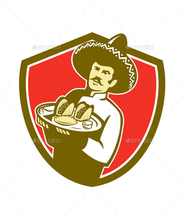 GraphicRiver Mexican Chef Cook Serving Taco Plate Shield 11218335