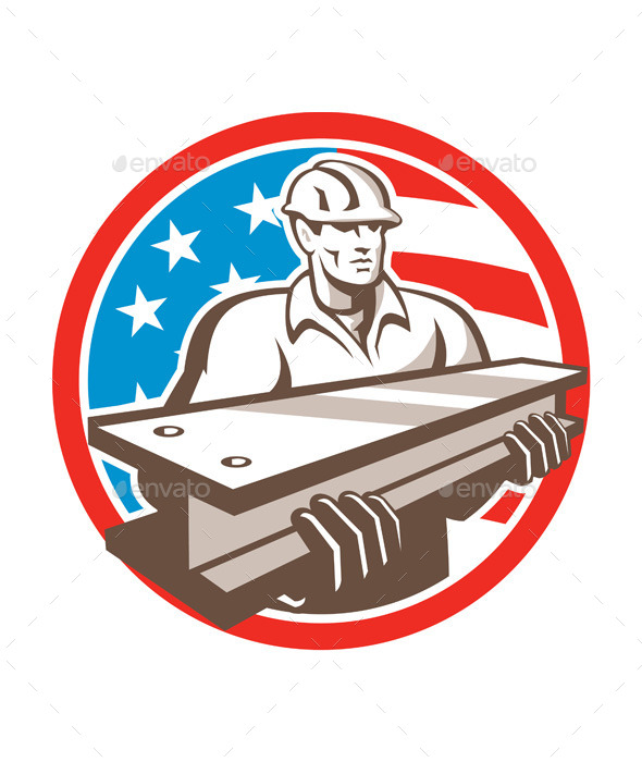 GraphicRiver Construction Steel Worker I-Beam USA Flag Circle 11218388
