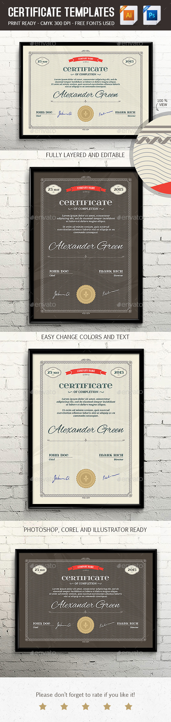 GraphicRiver Certificate Template PSD & EPS Print Ready 11218392