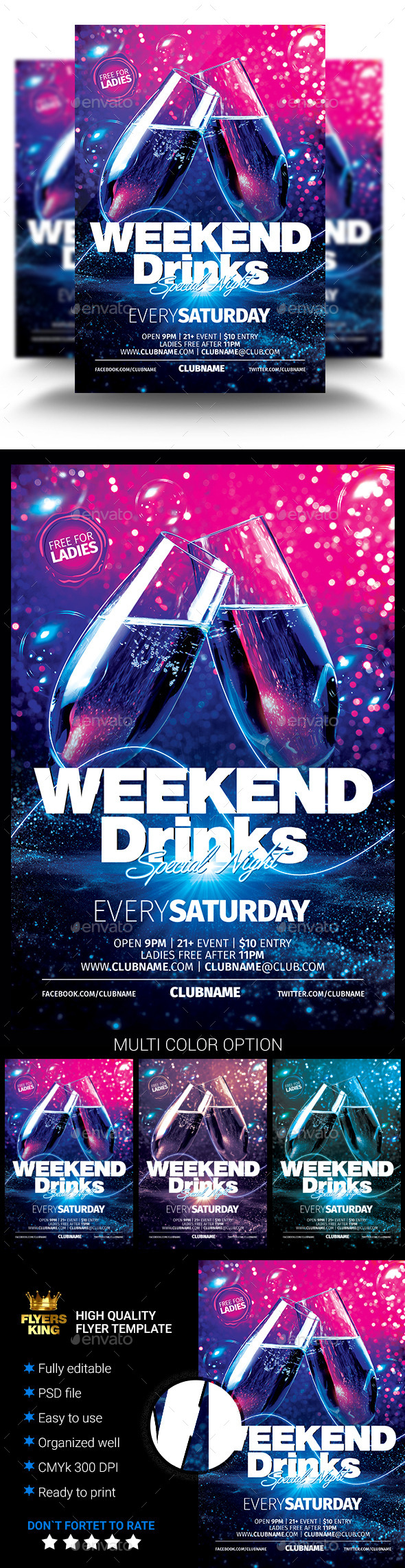 GraphicRiver Weekend Drinks Party Flyer 11218406