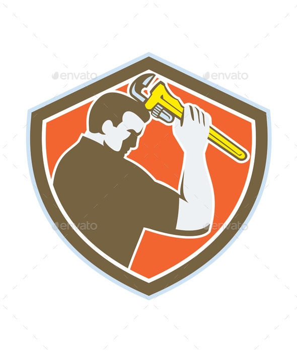 GraphicRiver Plumber Holding Monkey Wrench Retro Crest 11218548