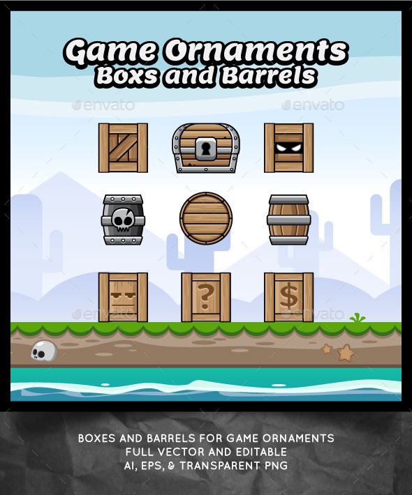 GraphicRiver Boxes and Barrels for Game Ornaments 11218659
