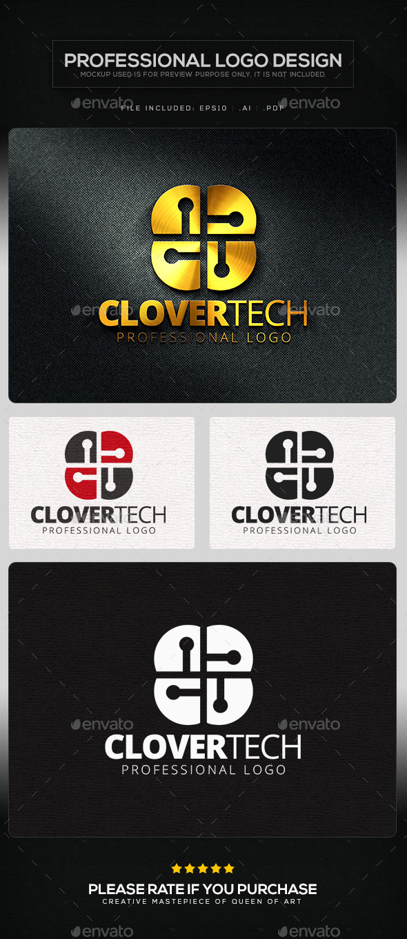 GraphicRiver Clover Tech Logo Template 11219584