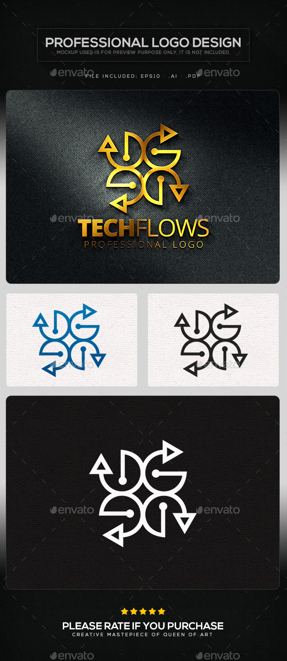 GraphicRiver Tech Flows Logo Template 11219690