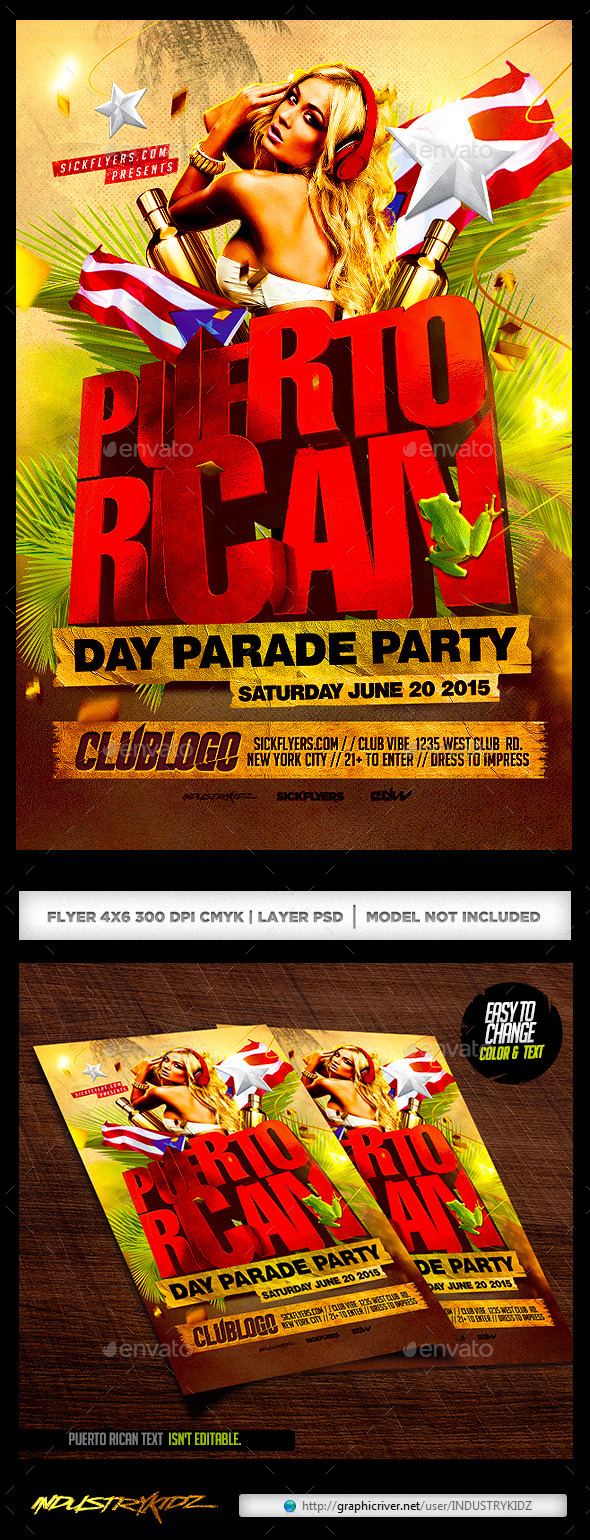 GraphicRiver Puerto Rican Day Parade Flyer 11219961