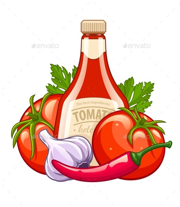 GraphicRiver Bottle with Ketchup and Organic Ingredients 11220908