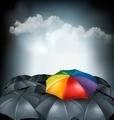 A rainbow umbrella amongst grey ones. Uniqueness concept.  - PhotoDune Item for Sale