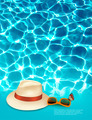 Vacation background with blue sea, a hat and sunglasses. - PhotoDune Item for Sale