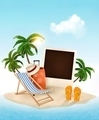 Beach with a palm tree, photo and a beach chair. Summer vacation concept background.  - PhotoDune Item for Sale