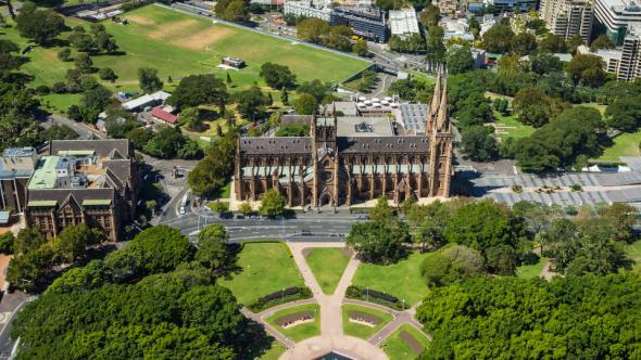 VideoHive Hyde Park and St Mary s Cathedral Sydney 11221550