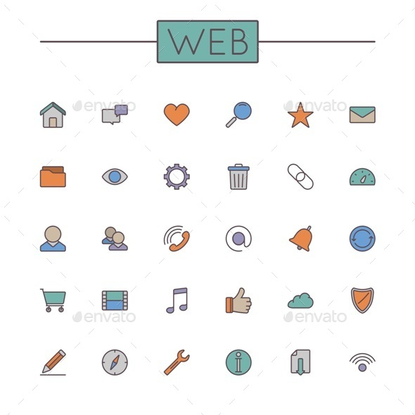 GraphicRiver Vector Colored Web Line Icons 11221650