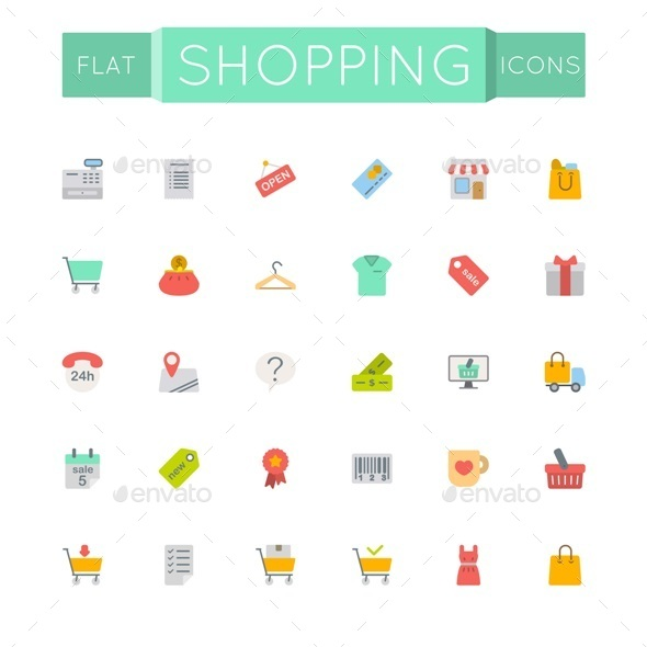 GraphicRiver Vector Flat Shopping Icons 11221664