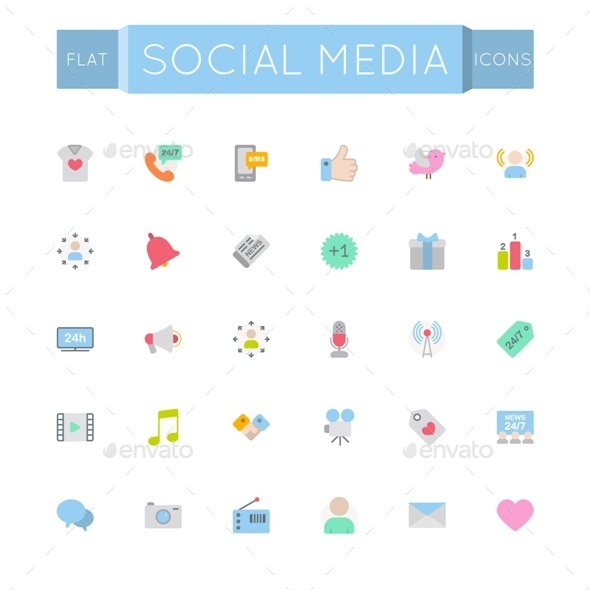 GraphicRiver Vector Flat Social Media Icons 11221708
