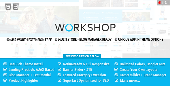 ThemeForest Workshop Responsive & Retina Ready Magento Theme 11169837