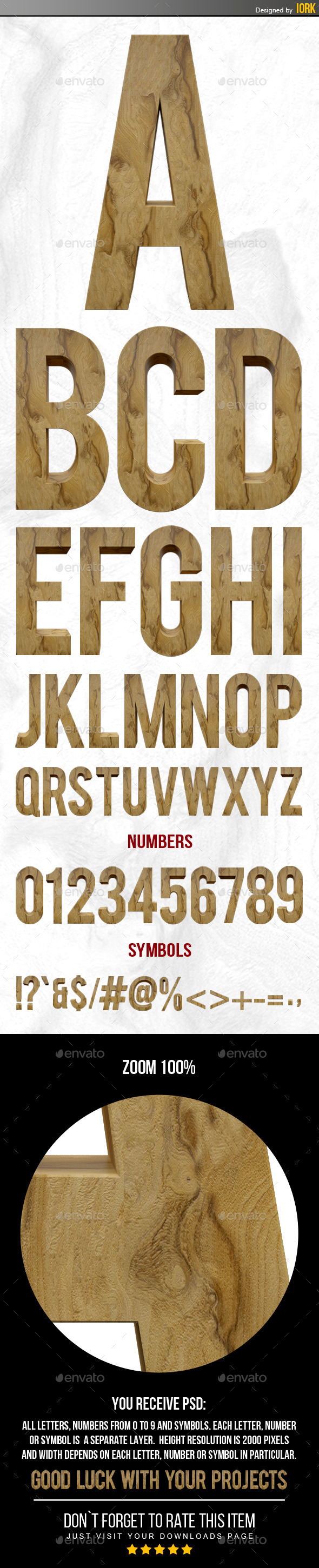 GraphicRiver 3D Wooden Letters and Numbers 11222143