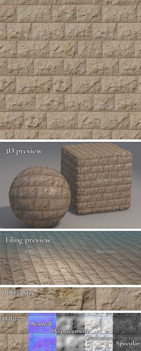 Cobblestone Brick Wall Seamless Texture - 3DOcean Item for Sale