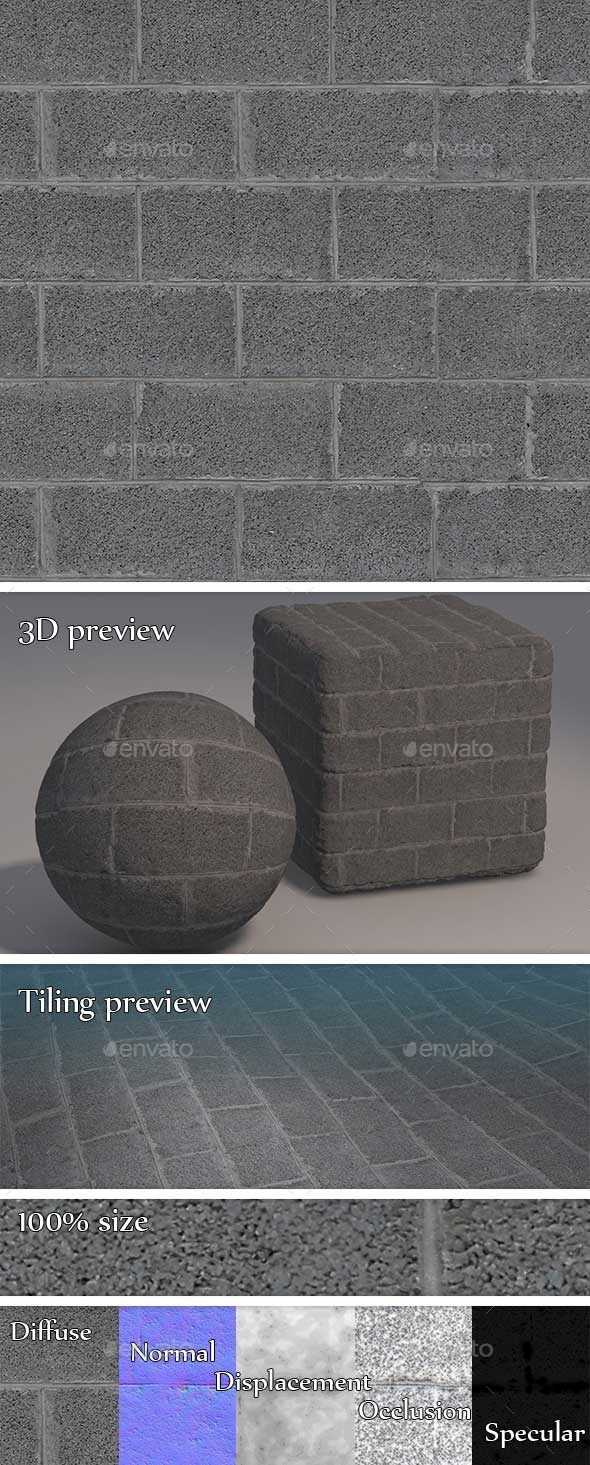3DOcean Concrete Blocks Wall Seamless Texture 11222423