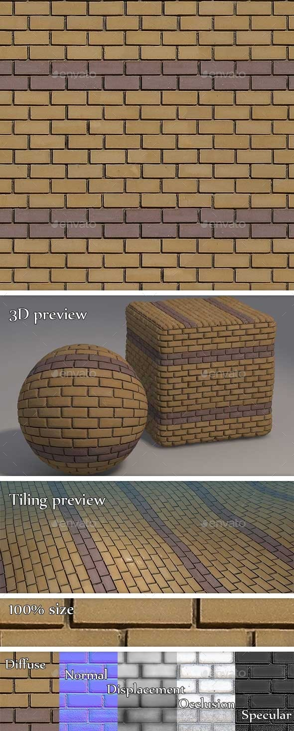 Yellow and Purple Brick Wall Seamless Texture