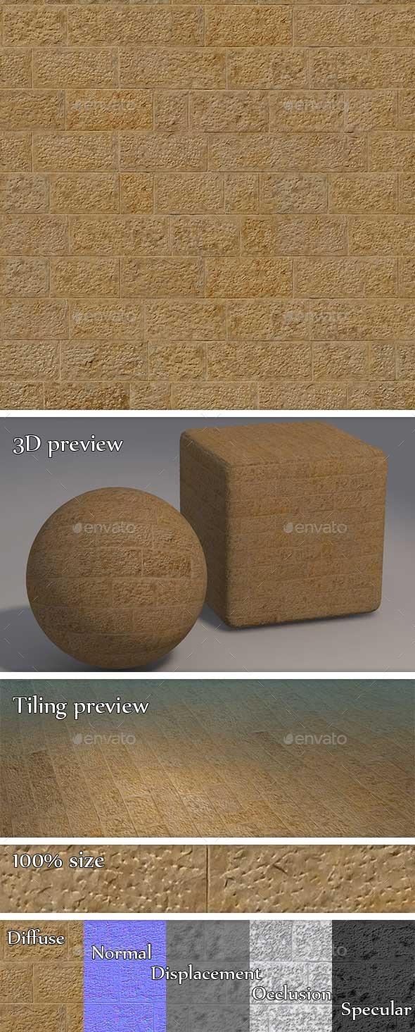 3DOcean Plain Sandstone Brick Wall Seamless Texture 11222492
