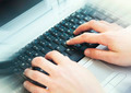 Hands Typing on Computer Keyboard at Office - PhotoDune Item for Sale