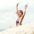 lifestyle concept - beautiful happy woman enjoying summer outdoors - PhotoDune Item for Sale