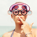 Young blonde woman in sunglasses showing middle finger - PhotoDune Item for Sale