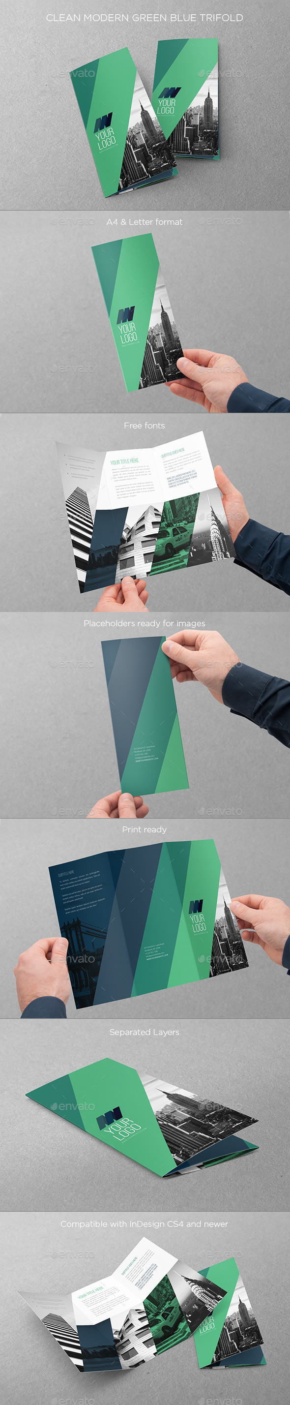 GraphicRiver Clean Modern Green Blue Trifold 11225278