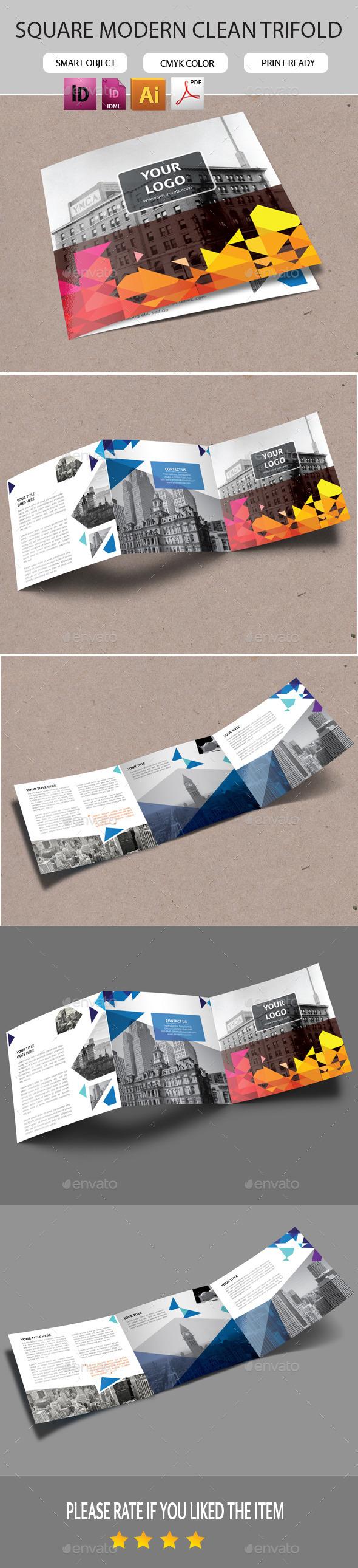 GraphicRiver Square Blue Triangles Pattern Trifold 11225948