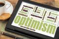 optimism word cloud on tablet - PhotoDune Item for Sale