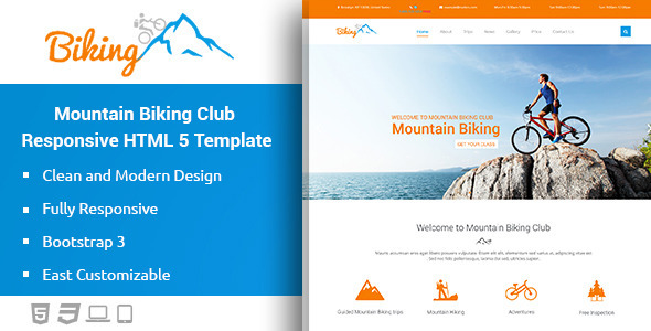 ThemeForest Biking Mountain Bikes Responsive HTML Template 11226095