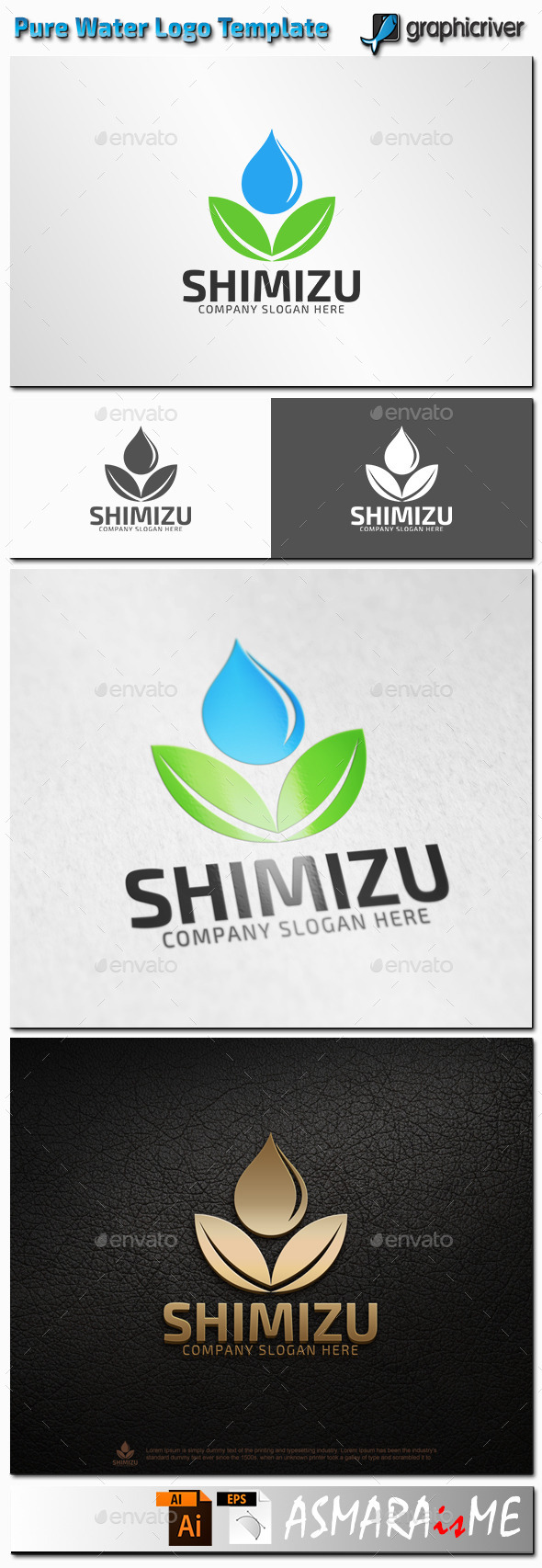GraphicRiver Shimizu Pure Water Natural Water Logo 11226357