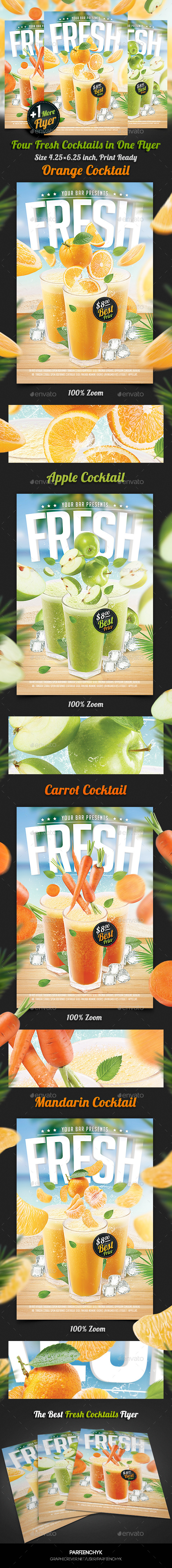 GraphicRiver Fresh Juice Cocktail Flyer Template 11226531