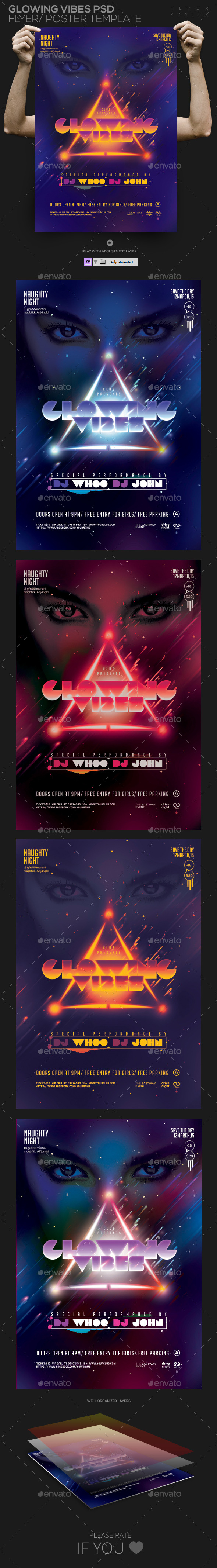 GraphicRiver Glowing Vibes PSD Flyer Poster Template 11226560