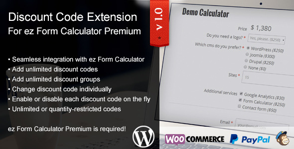 CodeCanyon ez Form Calculator Discount Codes Extension 11226988