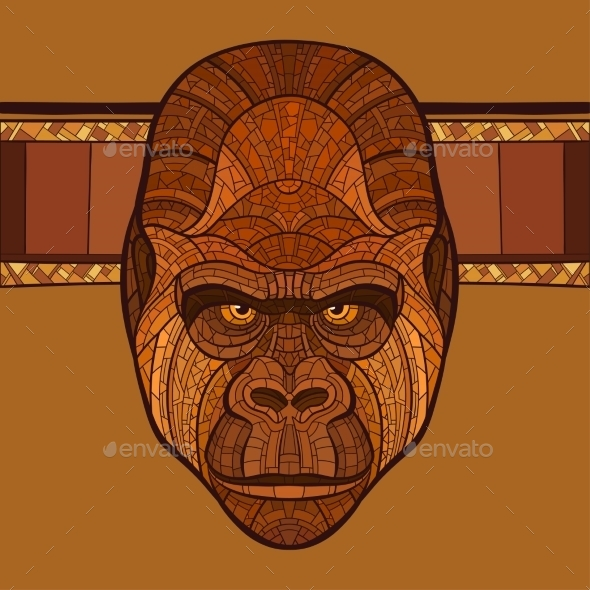 GraphicRiver Ape Gorilla Head With Ethnic Ornament 11226997
