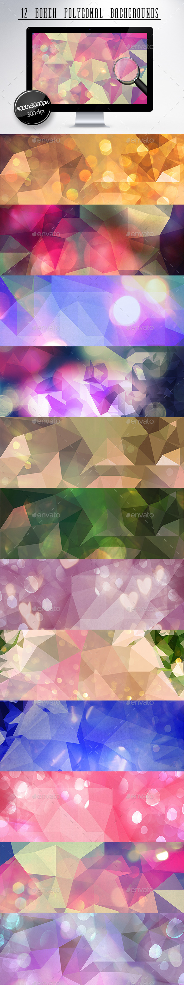 GraphicRiver 12 Bokeh Polygonal Backgrounds 11227125