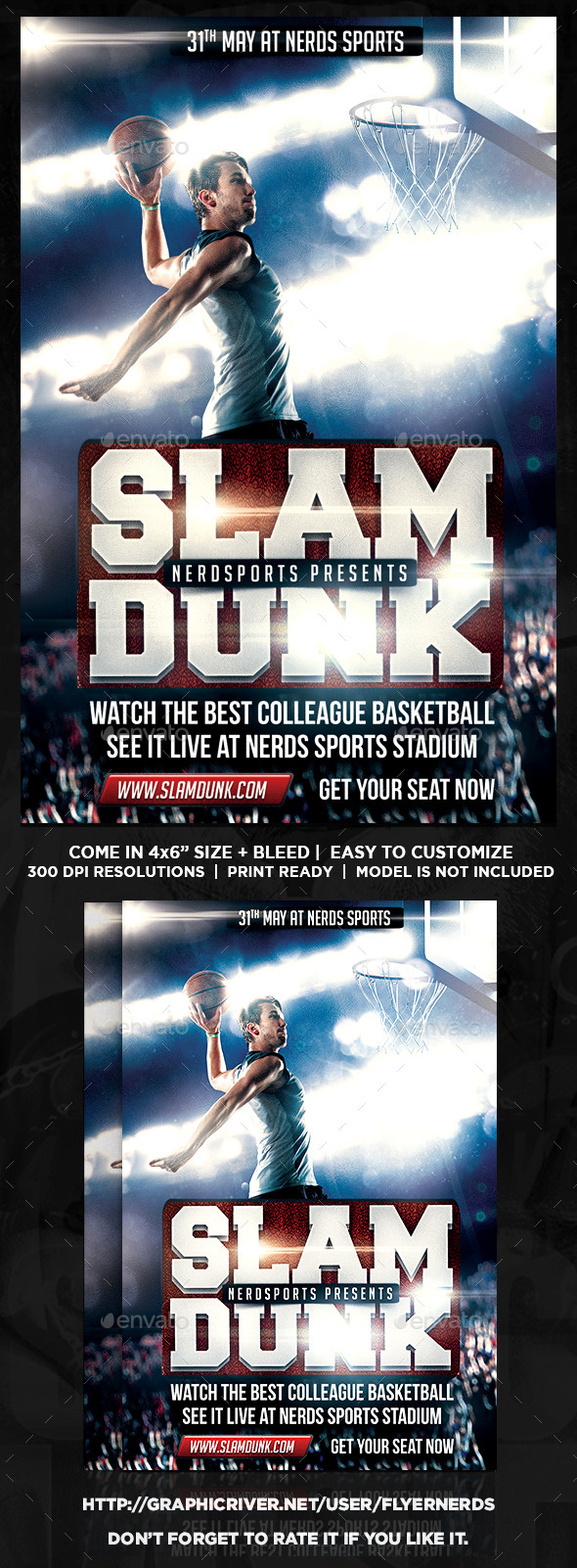 GraphicRiver Slam Dunk Basketball Sports Flyer 11227291