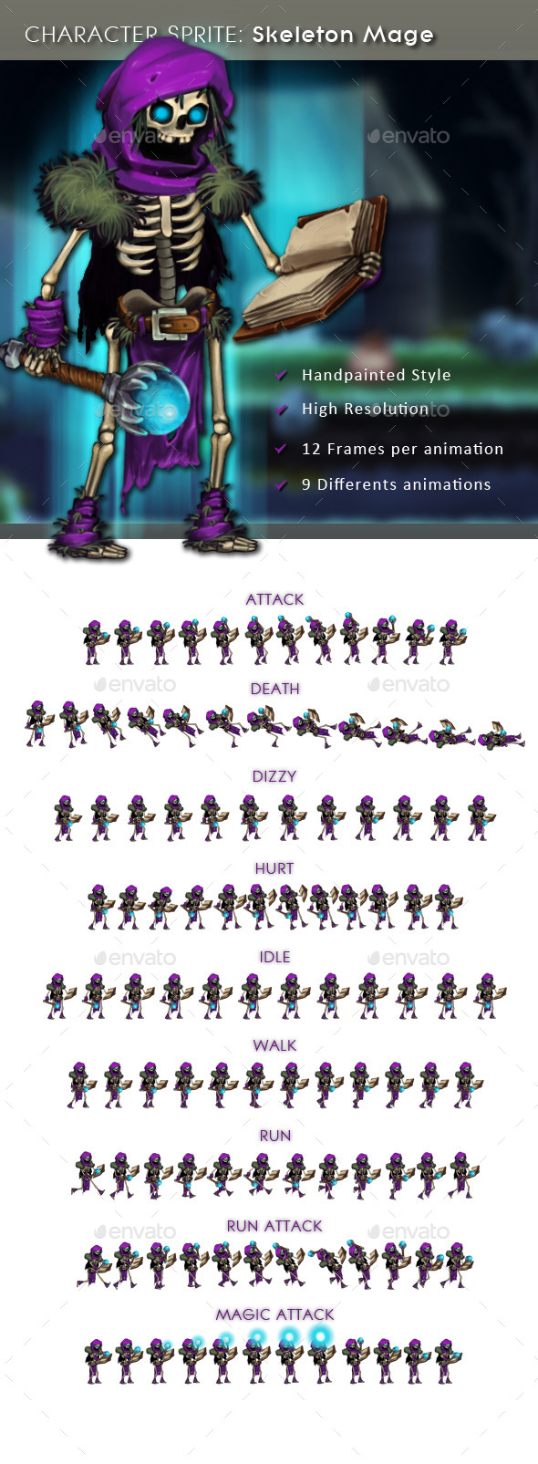 GraphicRiver Character Sprite Skeleton Mage 11227299