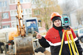 surveyor works with theodolite - PhotoDune Item for Sale
