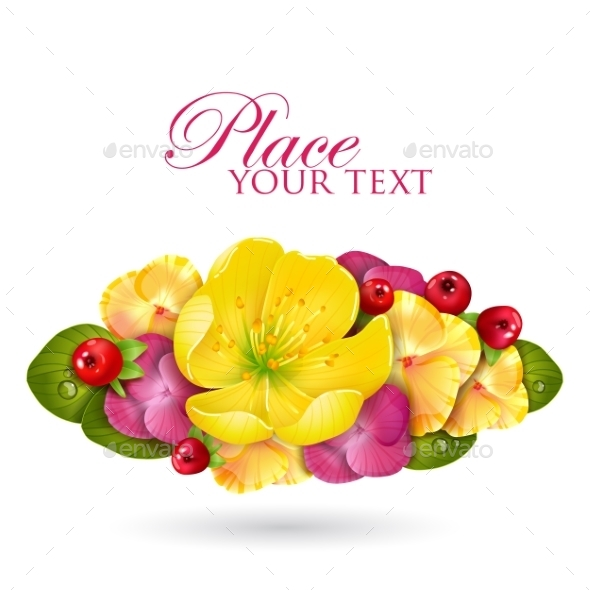 GraphicRiver Floristic Composition Of Yellow Lotus Flower 11228965