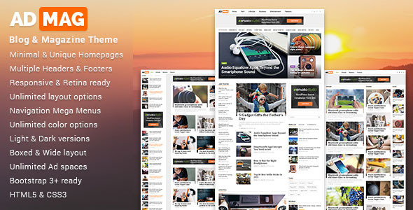 ThemeForest ADMAG Responsive Blog & Magazine HTML Template 11147481