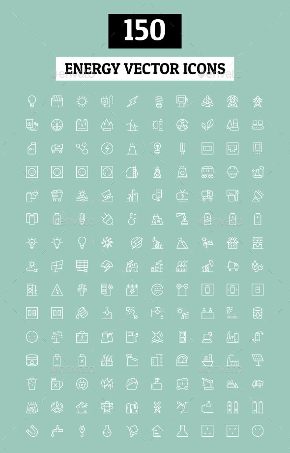 GraphicRiver 150 Energy Vector Icons 11229963